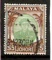 MALAYA JOHORE 1949 $5 TOP VALUE OF THE SET SG 147 FINE USED Cat £17 - Johore