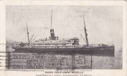 MARELLA Burns-Philp Line, Sydney AUSTRALIA - VIC 'underpaid' DEFICIENCY POSTMARK 2 Scans Ship Postcard - Piroscafi