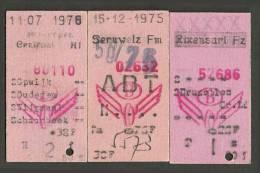 QT91 BELGIUM 3 Tickets 1975/6 Seruwelz Rixensarl Antwerp Anver - Railway