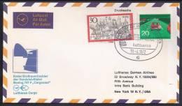 """FIRST FLIGHT - Lufthansa """"Cargonaut"""" To New York - 19 Abril1972 - New York - Sede De La Organización De Las NU"""