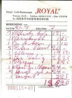 "FACTURE HOTEL RESTAURANT ""ROYAL"" - 'S-HERTOGENBOSCH - Factures"