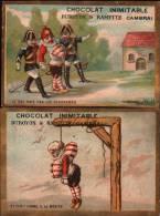 2 Chromos Chocolat Duroyon & Ramette - Gendarmes, Pendu - Guillotine - Duroyon & Ramette