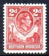 Northern Rhodesia GVI 1938 2d Carmine, Very Lightly Hinged Mint (A) - Northern Rhodesia (...-1963)