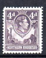Northern Rhodesia GVI 1938 4d Dull Violet, Very Lightly Hinged Mint (A) - Northern Rhodesia (...-1963)