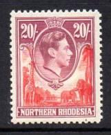 Northern Rhodesia GVI 1938 20/- Carmine & Rose-purple, Very Lightly Hinged Mint (A) - Northern Rhodesia (...-1963)
