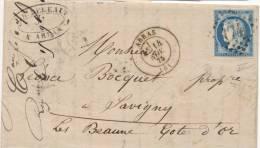 Lettre Cérès 60 Arras Pas De Calais 14/11/1875Gros Chiffres 174 Pour Savigny Beaune Cote D´Or Ambulant Arras Paris B Lyo - 1849-1876: Période Classique