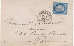 Lettre Cérès 60 Versailles Seine Et Oise 7/8/1875 Gros Chiffres 4158 Paris Seine - 1849-1876: Periodo Classico