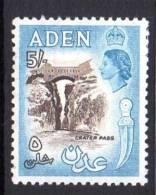 Aden QEII 1953 5/- Sepia & Dull Blue, Lightly Hinged Mint - Aden (1854-1963)