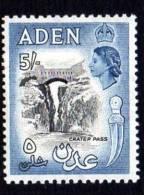 Aden QEII 1953 5/- Black & Deep Dull Blue, Lightly Hinged Mint - Aden (1854-1963)