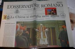 VATICANO 2013 - NEWSPAPER L'OSSERVATORE ROMANO DAY OF START VACANT PAPAL SEE - Prime Edizioni
