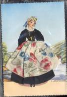 SCANNO   ANCORA  IMBUSTATA   COSTUME REGIONALE   FEMME  BRODEE POSTAL  BORDADA   CARTOLINA RICAMATA IN TESSUTO A RILIEVO - Embroidered