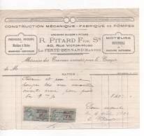 Lettre - Facture -  Construction Mécanique - R. PITARD Fils - LA FERTE BERNARD - 1922 - Francia