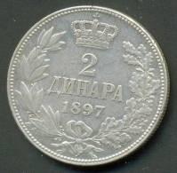 SERBIA , 2 DINARA 1897 , UNCLEANED SILVER COIN - Serbia