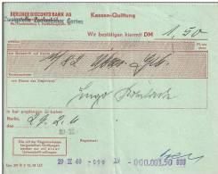 ALEMANIA DOCUMENTO BANCARIO BERLINER DISCONTO BANK 1960 - Banco & Caja De Ahorros