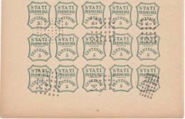 SI53D Italia Italy PARMA 5 C. 1859 FALSI SPIRO FORGERY FALSH OLD ITALIAN STATES Blocco Di 15 - Parma