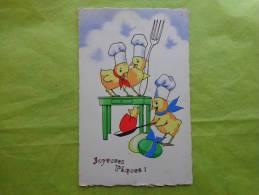 Oeuf --poussins-toque-fourchette-poele-joyeuses Paques Editeur Md 610 - Ostern
