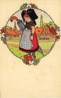 Alsace, Hansi, Jeune Fille, Parapluie, Sabots. - Hansi