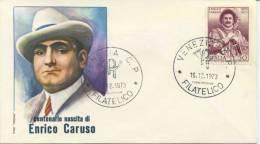 ITALIA - FDC ROMA 1973 - ENRICO CARUSO - MUSICA - 6. 1946-.. Republic