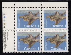 Canada MNH Scott #1155 Upper Left Plate Block 1c Flying Squirrel, Slater Paper - Mammal Definitives - Numeri Di Tavola E Bordi Di Foglio