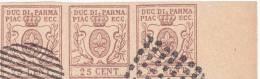 SI53D Italia Italy PARMA 25 C. 1857 FALSI SPIRO FORGERY FALSH OLD ITALIAN STATES Striscia Di 3 - Parma