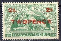 New Zealand 1922 Victory Two Pence Surcharge MH*  SG459 - 1907-1947 Dominion