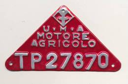 SPLENDIDA TARGA U.M.A. MOTORE AGRICOLO TP27870 DOPO GUERRA - Transporto