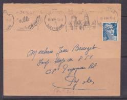 FRANCE LETTRE AVEC 719B 5F MARIANNE DE GANDON BLEU FLAMME FOUGERES VILLE INDUSTRIELLE DU 15.5.1957 - Francia