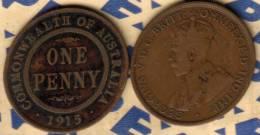 AUSTRALIA 1 PENNY NAME FRONT MAN KGV HEAD BACK 1915 F CV$7 KM23 READ DESCRIPTION CAREFULLY !!! - Monnaie Pré-décimale (1910-1965)