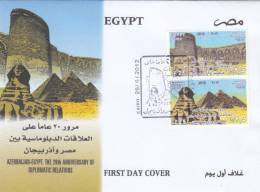 FDC`S EGYPT 2012 AZERBAIJAN EGYPT THE 20TH ANNIVERSARY OF DIPLOMATIC RELATIONS - Egypt