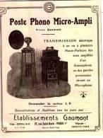 Pub.1924  Poste Phono Micro-Ampli Ets Gaumont  TBE - Publicités