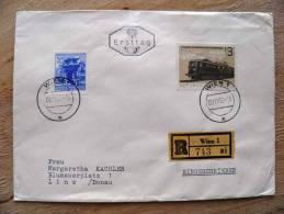 Cover Sent In Austria Osterreich, Ersttag FDC, Registered, Wien, Train Transport - 1945-.... 2nd Republic