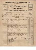 Entête  26/06/1903  -  Paris  -  MANNEVEAU  Serrurerie  Et  Charpente  En  Fer  -  Téléphone,  Sonneries électriques  - - France