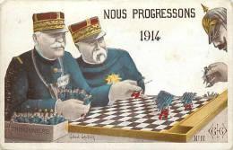 Guerre 1914-18- Ref G123- Illustrateur Gilbert Gauthier - Jeu De Dames Avec Guillaume 2 Le Kaiser  -carte Bon Etat  - - Guerre 1914-18