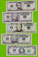 Dollar-Noten 5, 10, 20, 50 + 100 $, Silver Dollars, Paper, Poker Money, 140 X 48 Mm, RRR, UNC - Billets