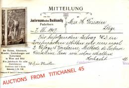 Brief 1907 - PADERBORN - JUNFERMANN´SCHE BUCHHANDLUNG - Imprimerie & Papeterie