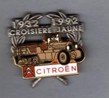 Pin´s  Double  Moule  Sport  Automobile  CITROËN  1932 - 1992  CROISIERE  JAUNE, ARTHUS  BERTRAND - Citroën