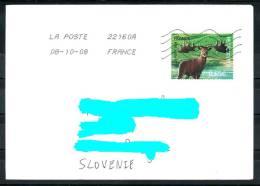 D26 France French Cover Letter Brief ATM Used Prähistorische Tiere Riesenhirsch Prehistoric Animals Giant Deer - Poststempel (Briefe)