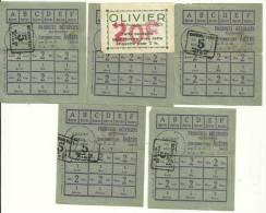 5 TICKETS DE RATIONNEMENT N° 5 - VILLE DE NICE - PRODUITS DETERSIFS - VIGNETTE MAGASIN OLIVIER à NICE  1947 - Documents Historiques