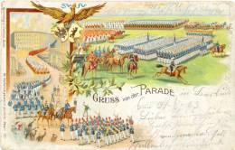 """Militär, Soldaten, """"Gruss Von Der Parade"""", Farb-Litho, 1903 - Manoeuvres"""