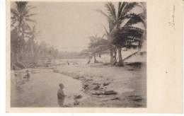 Guam Beach Scene, Man And Woman Bathe(?) Wash In Water, C1900s Vintage Postcard - Guam