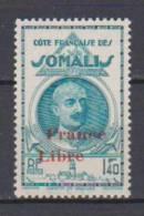COLONIE COTE FRANCAISE DES SOMALIS TYPES DE 1938 LEONCE LAGARDE DJIBOUTI SURCHARGES FRANCE LIBRE N°222 Neuf* Charniere - Ohne Zuordnung