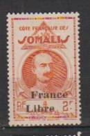 COLONIE COTE FRANCAISE DES SOMALIS TYPES DE 1938 LEONCE LAGARDE DJIBOUTI SURCHARGES FRANCE LIBRE N°226 Neuf* Charniere - Ohne Zuordnung