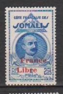 COLONIE COTE FRANCAISE DES SOMALIS TYPES DE 1938 LEONCE LAGARDE DJIBOUTI SURCHARGES FRANCE LIBRE N°227 Neuf* Charniere - Ohne Zuordnung