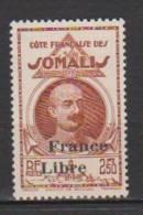 COLONIE COTE FRANCAISE DES SOMALIS TYPES DE 1938 LEONCE LAGARDE DJIBOUTI SURCHARGES FRANCE LIBRE N°228 Neuf* Charniere - Ohne Zuordnung