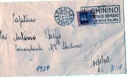 """FRAMMENTO  DI BUSTA--RARO-CENT.50-REGNO-ROMA-24-2-1928-ANNULLO A TARGHETTA """"IL CHININO"""" - 1900-44 Vittorio Emanuele III"""