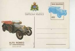 CARTOLINA POSTALE  REPUBLICA DE SAN MARINO  ALFA ROMEO  75 ANNIVERSARIO   OHL - San Marino