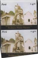O) 2008 PERU, IMPERFORATE PAIR, CHURCH, BICENTENNIAL GENERAL CEMETERY OF LIMA PRESBYTER MATIAS MAESTRO - Peru