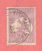 """AUS SC #50a  1915 Kangaroo And Map  W/tiny Tear @ CR  W/SON (""""_STH AUSTRALIA / 9 0C 16""""), CV $22.50 - Used Stamps"""