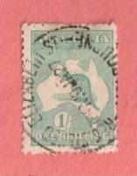 "AUS SC #51b  1916 Kangaroo And Map  W/SON (""REGISTERED / ELIZABETH ST / _OURNE / 10 JA 27""), CV $14.00 - Used Stamps"