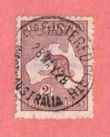 AUS SC #53  1924 Kangaroo And Map  W/SON W/backside Purple Stn (shows Through Across Center), CV $37.50 - Used Stamps